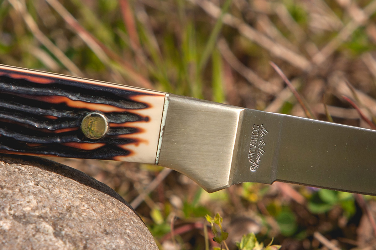 A closeup of the classic Staglon Slab handles Uncle Henry is known for.