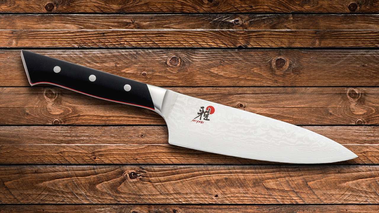 the miyabi knives have cmv60 vg10 damascus blades the damascus provides a serious artistic statement to the kitchen and maintain a superior edge